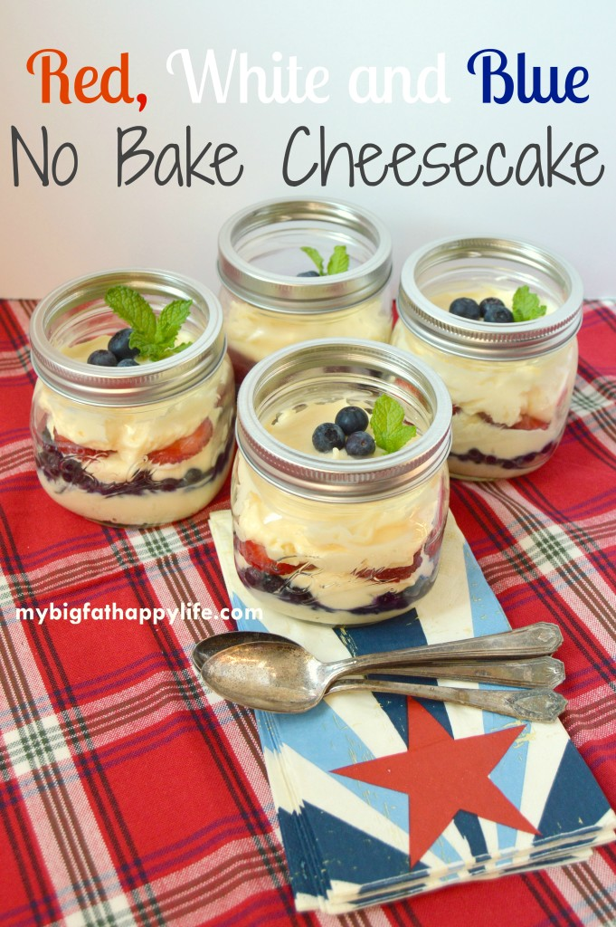 Red, White and Blue No Bake Cheesecake - an easy to dessert to make | mybigfathappylife.com