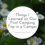 Things I Learned on Our First Camping Trip in a Camper