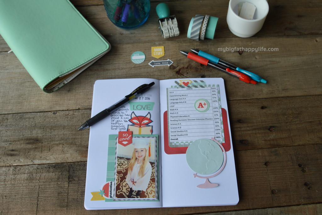 A scrapbook or traveler's notebook to document your child's school year; How to Document Your Child's School Years #MyGo2Pen #ad | mybigfathappylife.com