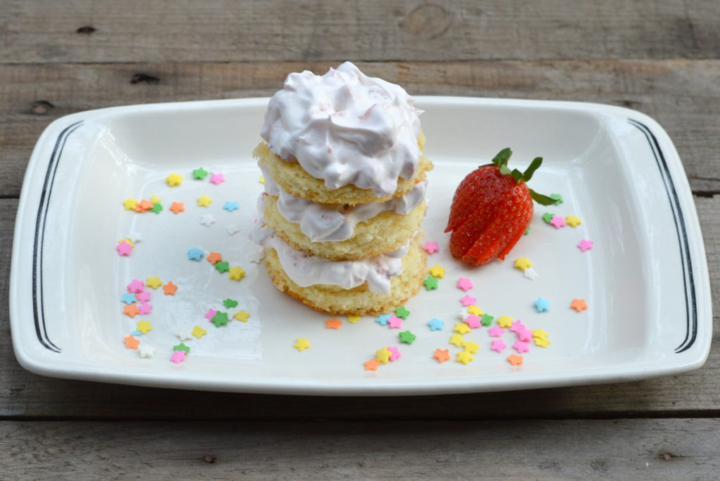 Strawberry Cake Stack; a light and refreshing dessert for Spring: Mother's Day or Easter | mybigfathappylife.com
