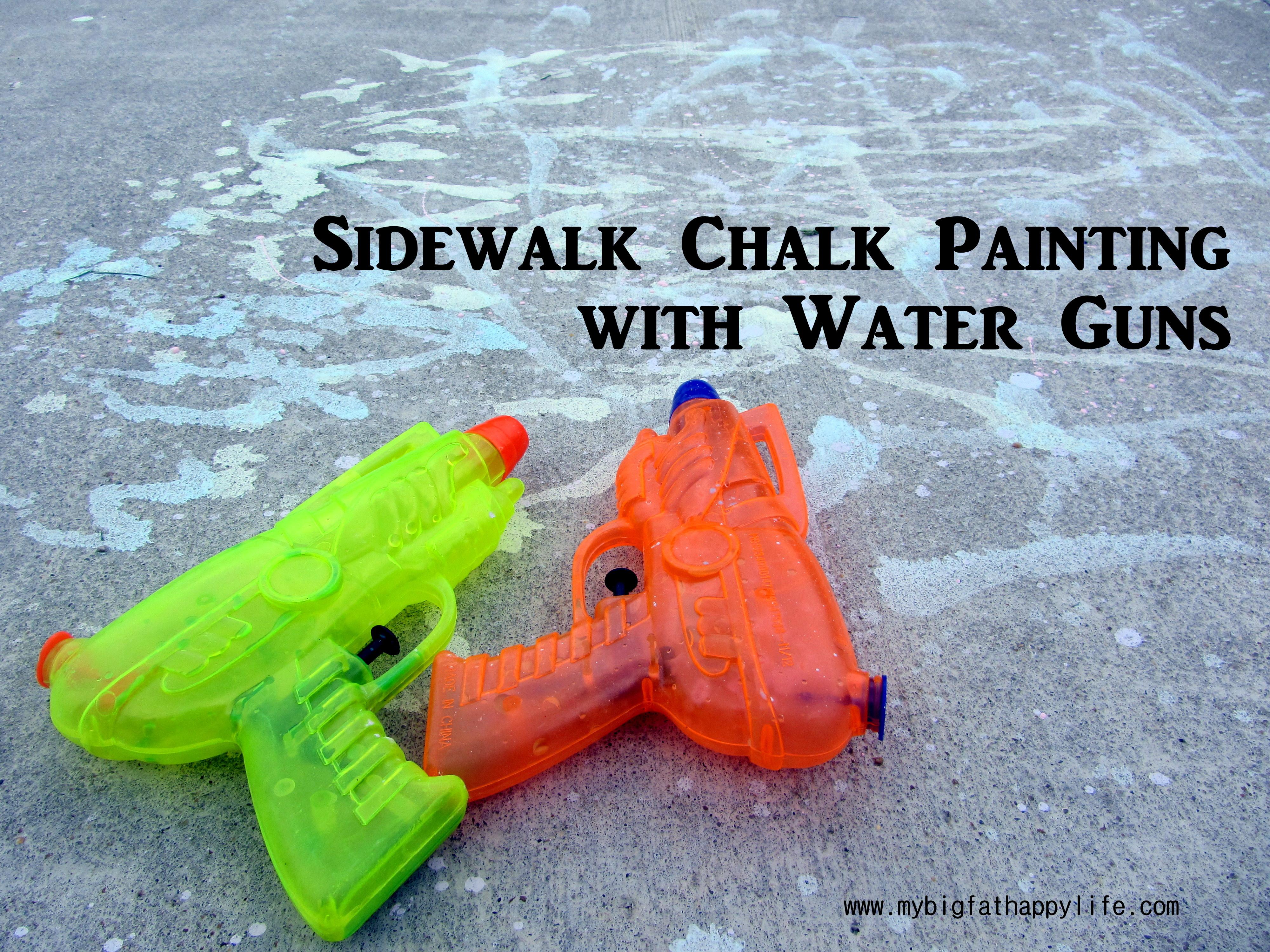 Sidewalk Chalk Paint with Water Guns | mybigfathappylife.com