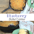 Blueberry Skillet Cobbler - the perfect summer time dessert | mybigfathappylife.com