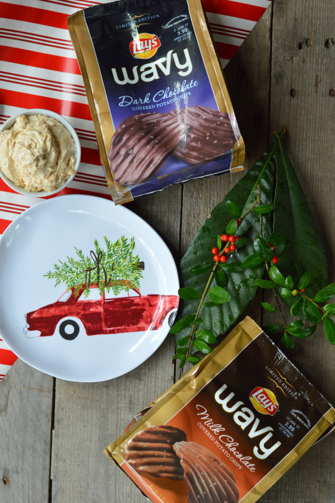 Fluffy Peanut Butter Dip with Chocolate Wavy Lays #SweetnSaltyHoliday #ad | mybigfathappylife.com