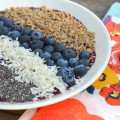 Blueberry Smoothie Bowl - An easy recipe for a refreshing Blueberry Smoothie Bowl that is packed with antioxidants, blueberries and coconut water. #SpoonfulsOfGoodness #CerealAnytime #ad