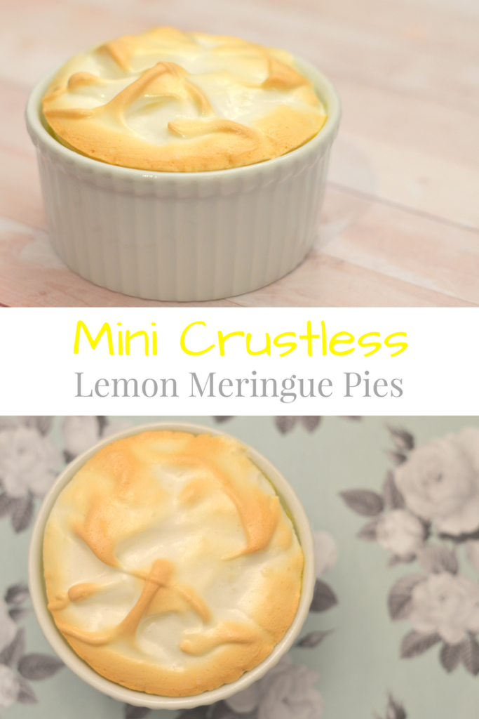 Mini Crustless Lemon Meringue Pies, perfect spring dessert for Easter or Mother's Day or any other time of the year! | mybigfathappylife.com