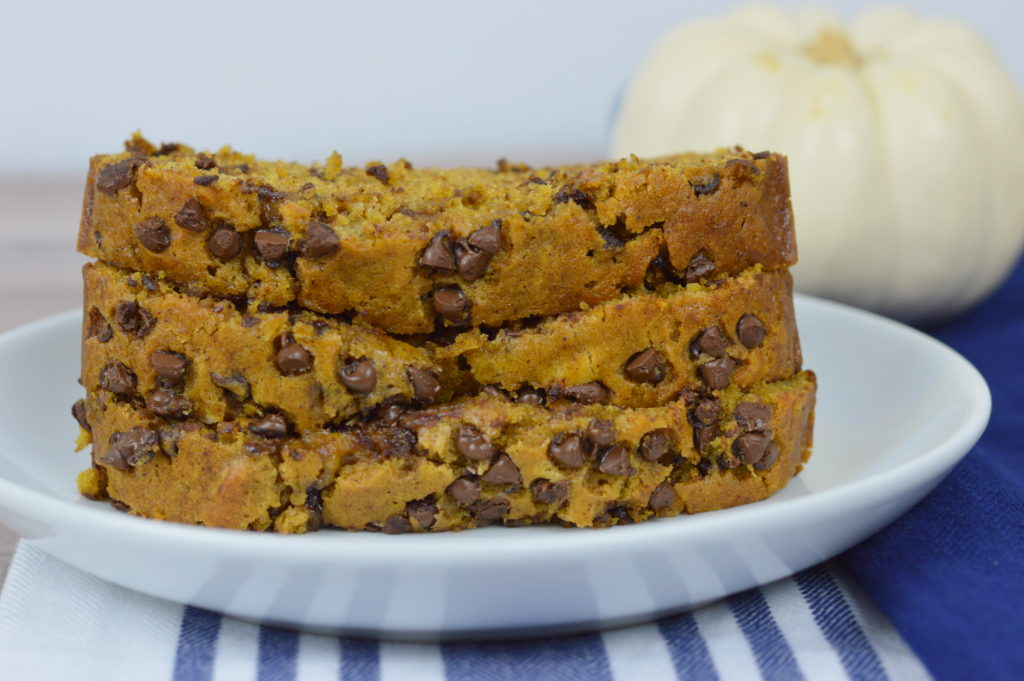 Chocolate Chip Pumpkin Bread, delicious recipe for fall | mybigfathappylife.com