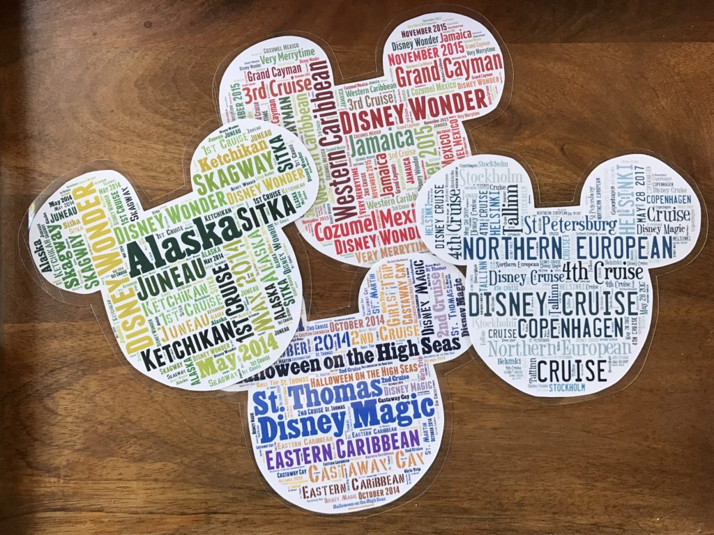 Taking a Disney Cruise? You will probably want to decorate your stateroom door! How to make personalized Mickey Word Cloud Magnets.