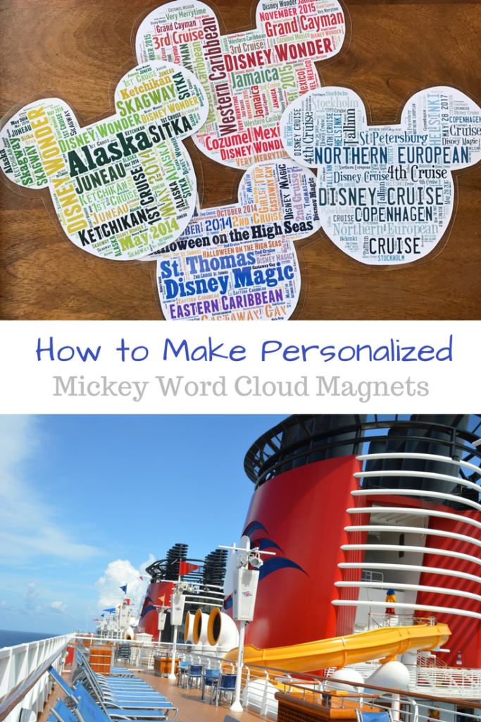 How to Make Personalized Mickey Word Cloud Magnets - Taking a Disney Cruise? You will probably want to decorate your stateroom door! How to make personalized Mickey Word Cloud Magnets.