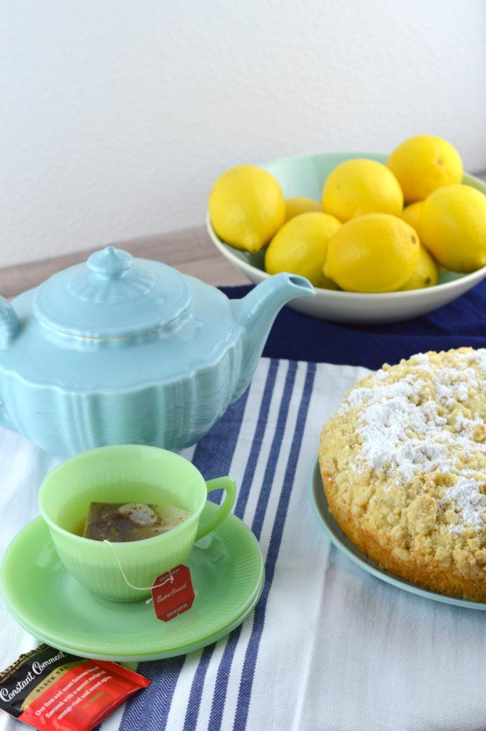 Lemon Crumble Breakfast Cake is moist, tender and full of bright lemon flavor. #ad #TeaProudly | mybigfathappylife.com