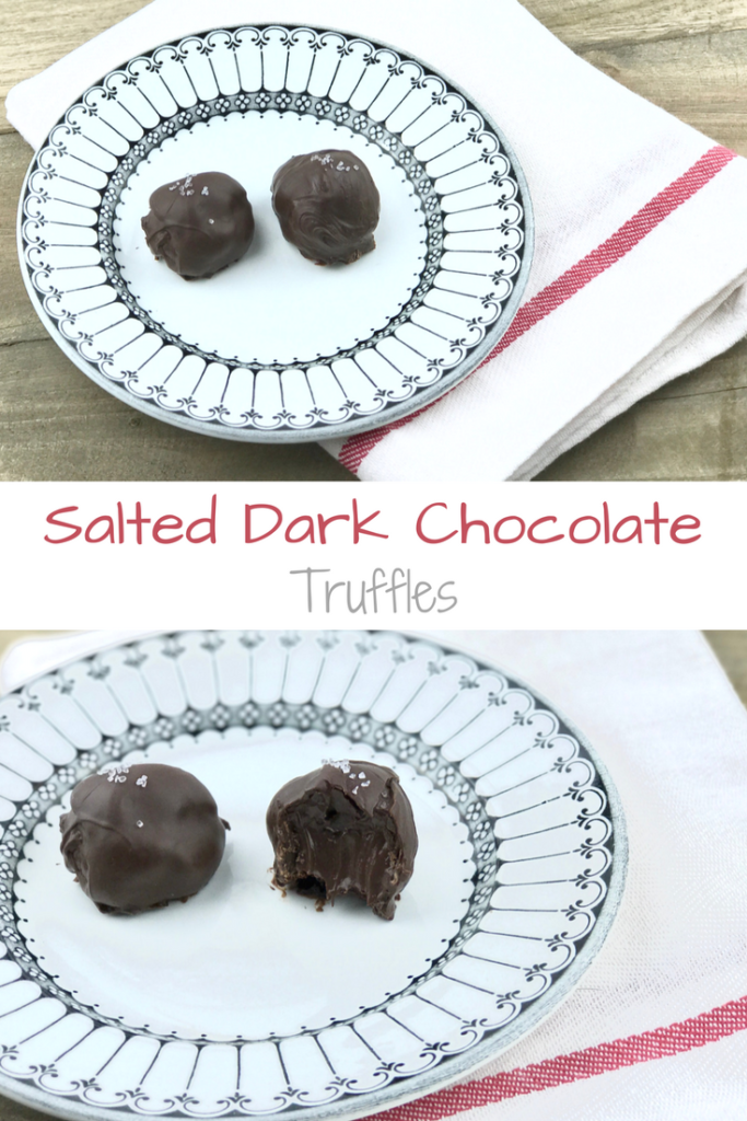 Salted Dark Chocolate Truffles with a creamy ganache center rolled in melted chocolate.